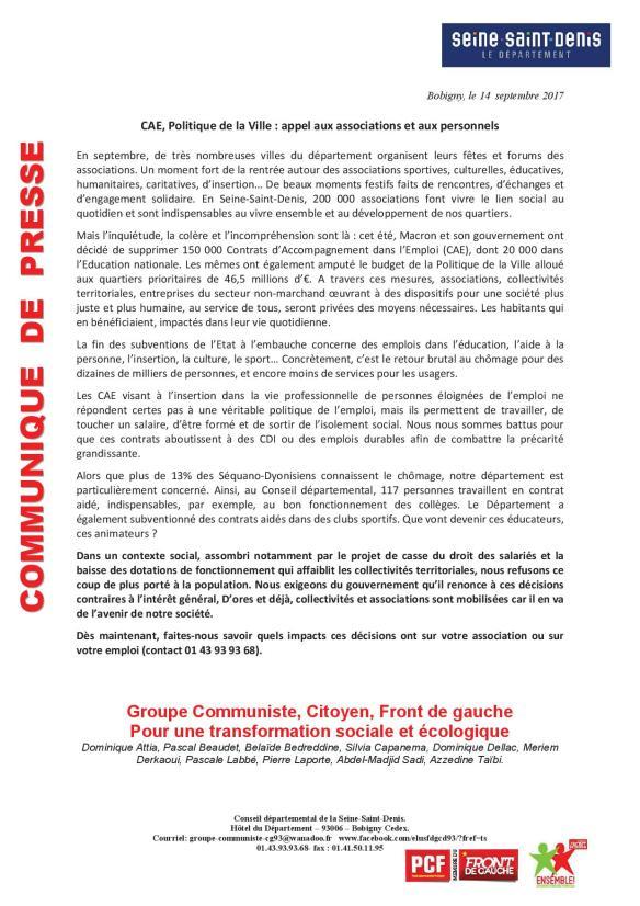 communiqué CAE politiq de la ville 140917
